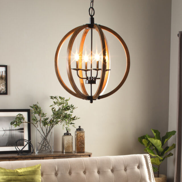 Modern Chandelier Lighting Globe 4 Lights Wood Ceiling Fixture Round Rustic Orb