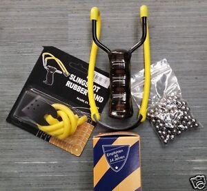 Steinschleuder-Schleuder-Zwille-Sportschleuder-100-Metallkugeln-Ersatzgummi
