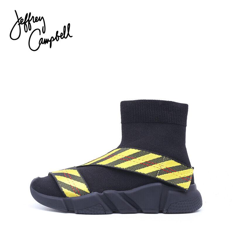 Jeffrey Campbell rojoman Hi Top Zapatillas-Negro y Amarillo