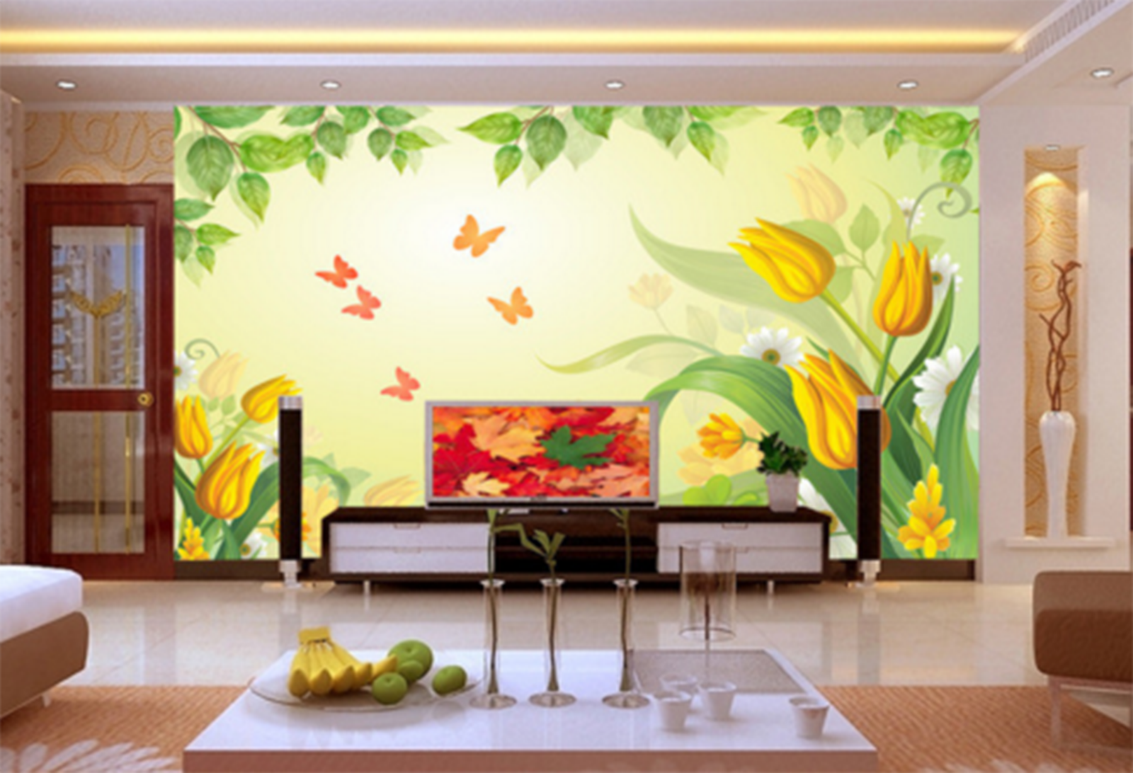 3D Cartoon Orange Butterfly Paper Wall Print Wall Decal Wall Deco Indoor Murals