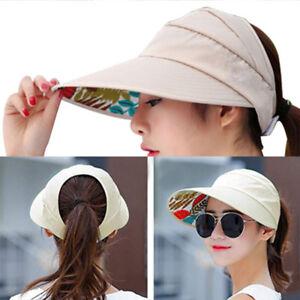 ebf759173 Women Ladies Hat Sun Wide Brim Cap Foldable Beach Summer Visor UV ...
