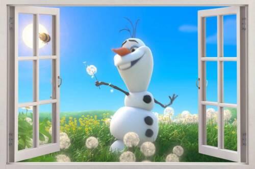 OLAF IN THE SUN Disney Frozen 3D Window View Decal WALL STICKER Decor Art Mural