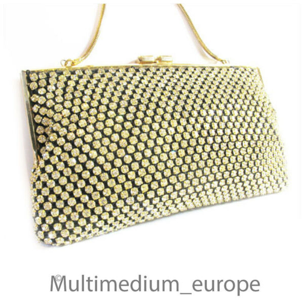 Abend Tasche Handtasche Mit Strass Steinen 60er 70er Jahre