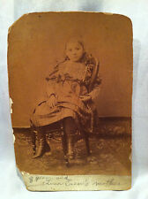 118 Year Old Antique 1887 / 1895 Snapshot Photo Of Little Girl Sitting On Chair