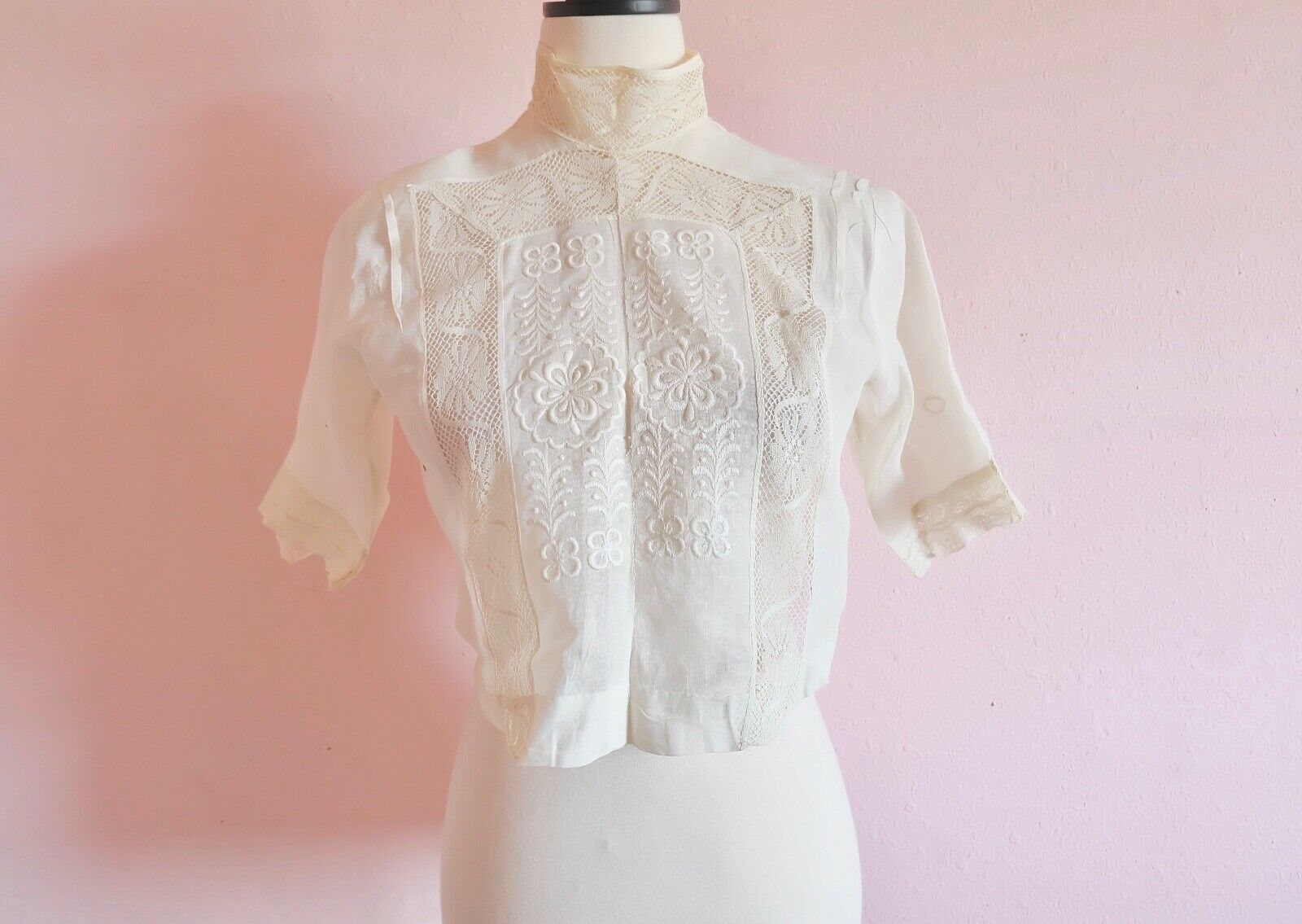 Antique Edwardian Women's Embroidered an Lace Ple… - image 2