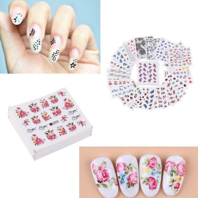 50 Sheetsset 3d Nail Art Stickers Flowers Decals Diy Manicure Water
