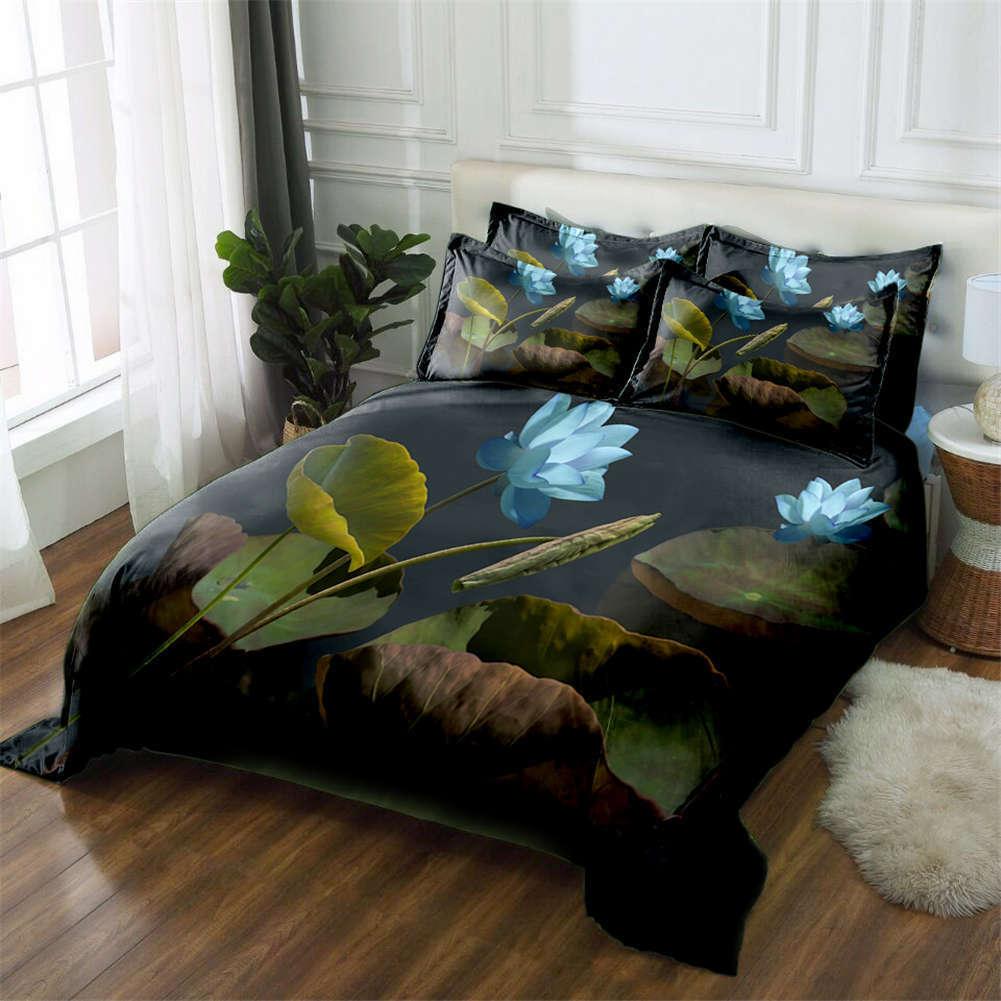 Lotus Pond Night 3D Printing Duvet Quilt Doona Covers Pillow Case Bedding Sets