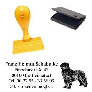 Adressenstempe<wbr/>l « NEUFUNDLÄNDER » mit Kissen - Hundeschule Tierheim Hund