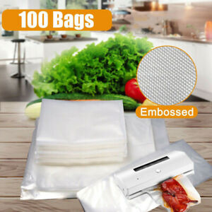 100PCS Vacuum Sealer Food Storage Bags Universal Textured Strong Pouches Seal