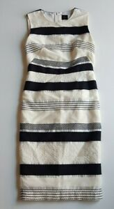 DAVID-LAWRENCE-Black-Cream-Stripe-Textured-Dress-Size-8