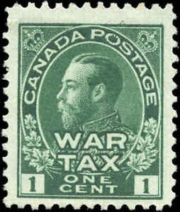 1915-Mint-Canada-Scott-MR1-1c-War-Tax-Issue-Stamp-No-Gum