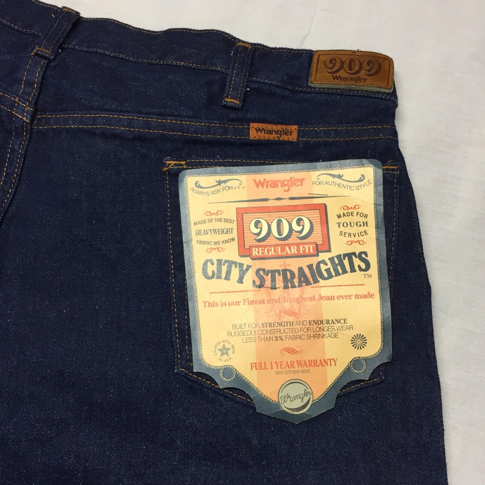 Vintage 40x30 Wrangler 909 City Straights Regular Fit bluee Jeans Rodeo Cowboy