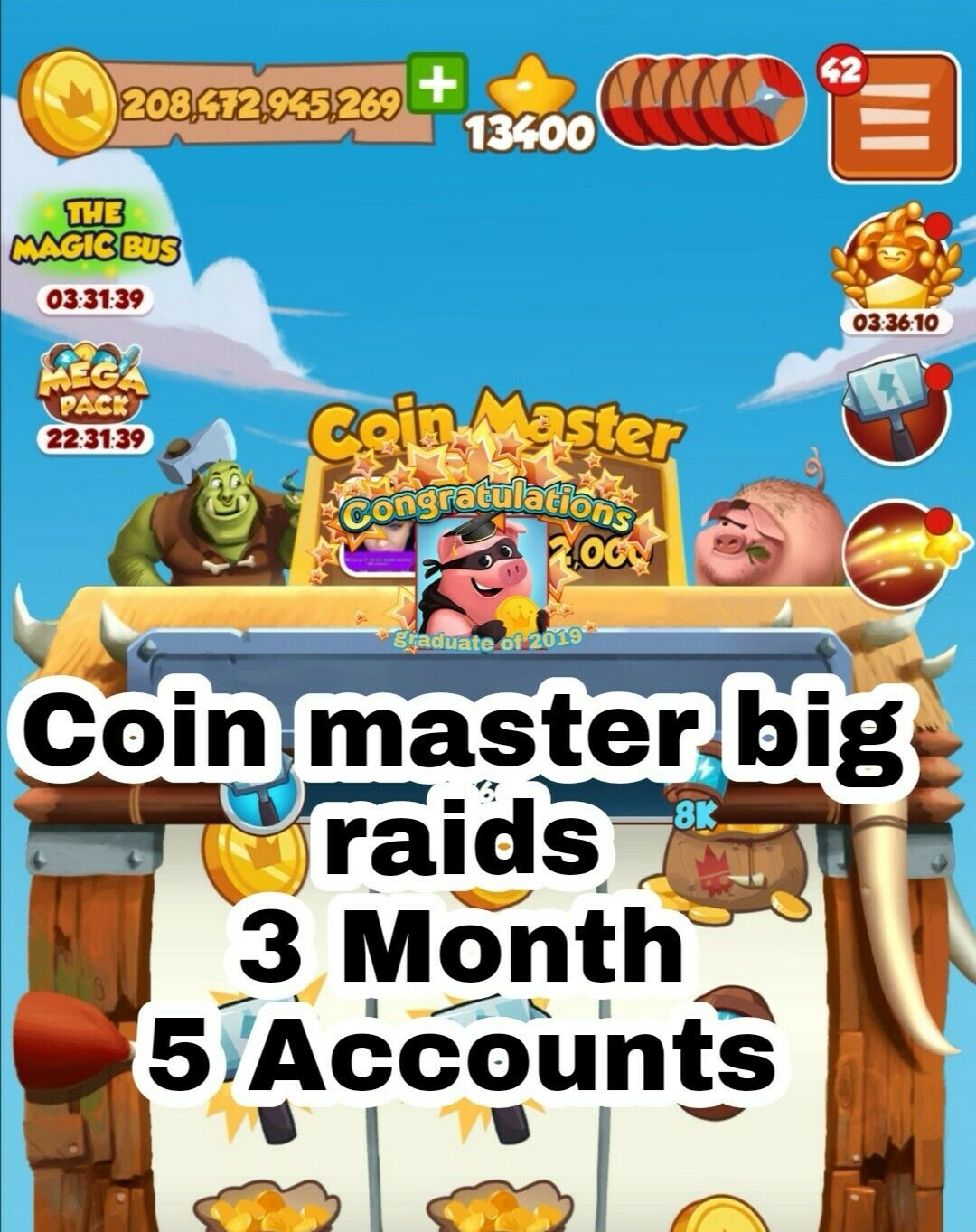 Coin Master Big Raids 3 Months on 5 accounts help with Viking/building ect