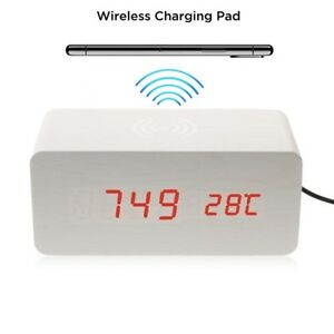 Holz-Wecker-Induktions-Ladegeraet-Wireless-Charger-QI-kabellos-Ladestation-Weiss