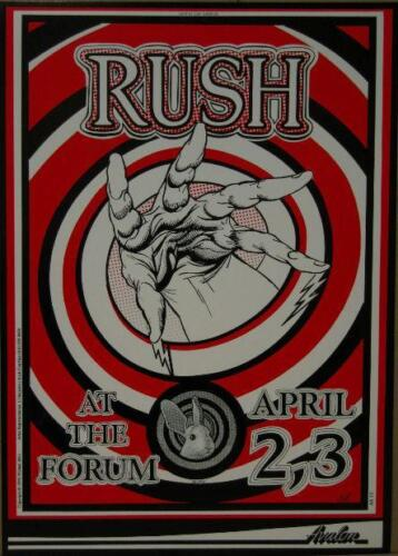 RUSH AT THE FORUM ROCK CONCERT POSTER MICHAEL DOLE AVALON ATTRACTIONS