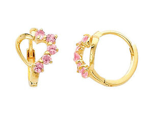 14K-Real-Yellow-Gold-Small-Heart-Pink-CZ-Huggies-Earrings-for-Baby-and-Children