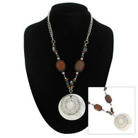 Necklace Pendant Chunky Mother Of Pearl Shell Wood Bead Silver Tone