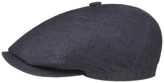 d5586c1b370 Stetson Sun Guard Canvas Baker Boy Flat Cap Cap BROOKLIN 331 Dark Grey Trend