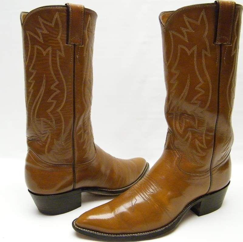 Para hombre Vintage Justin 1311 Marrón Cuero Cowboy Western botas Talle 6.5  1 2 D