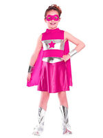 Pink Superhero Girls Fancy Dress Comic Book Childrens Kids Child Costume Outfit