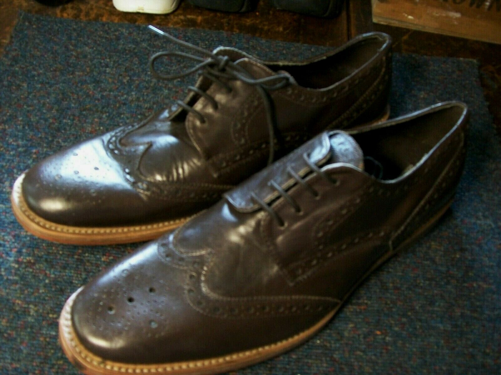 NEW HARRYKSON DARK BROWN LEATHER BROGUES SIZE 11 45