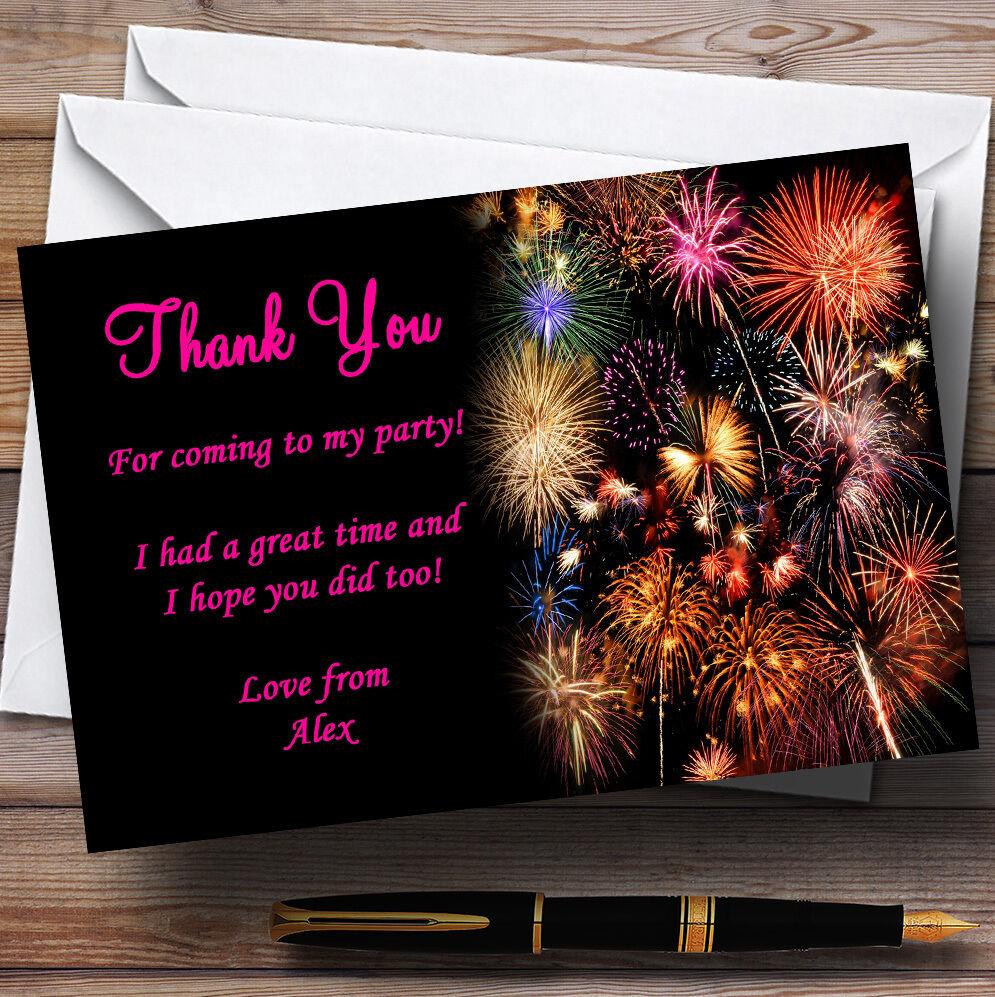 Feu parti d'artifice rose parti Feu personnalisés vous remercier cartes 324c38