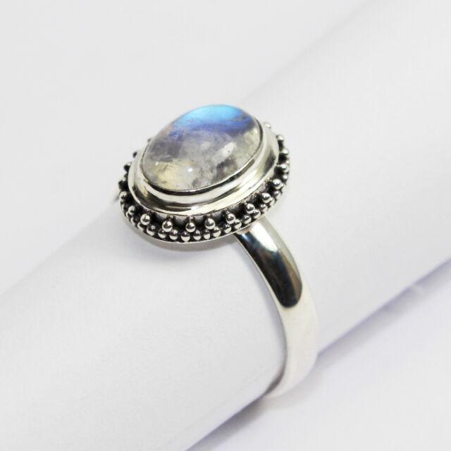 Ring aus Silber 925 mit echtem Mondstein / Sterlingsilber / Handarbeit