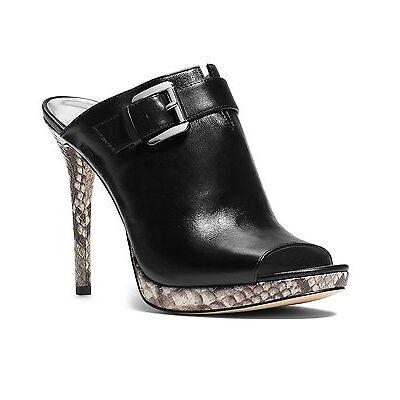 Women MICHAEL Michael Kors Isabella Peep-Toe Mules, Sizes 6-9.5 Blk/Nat Leather
