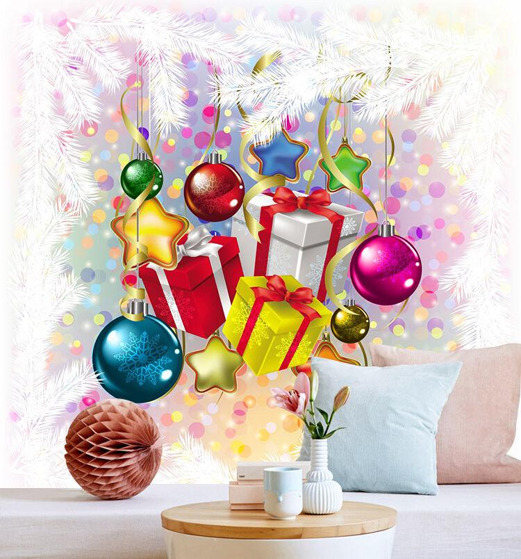 3D Weihnachtsmann Bunte Kugel Fototapeten Wandbild Bild Tapete Familie Kinder