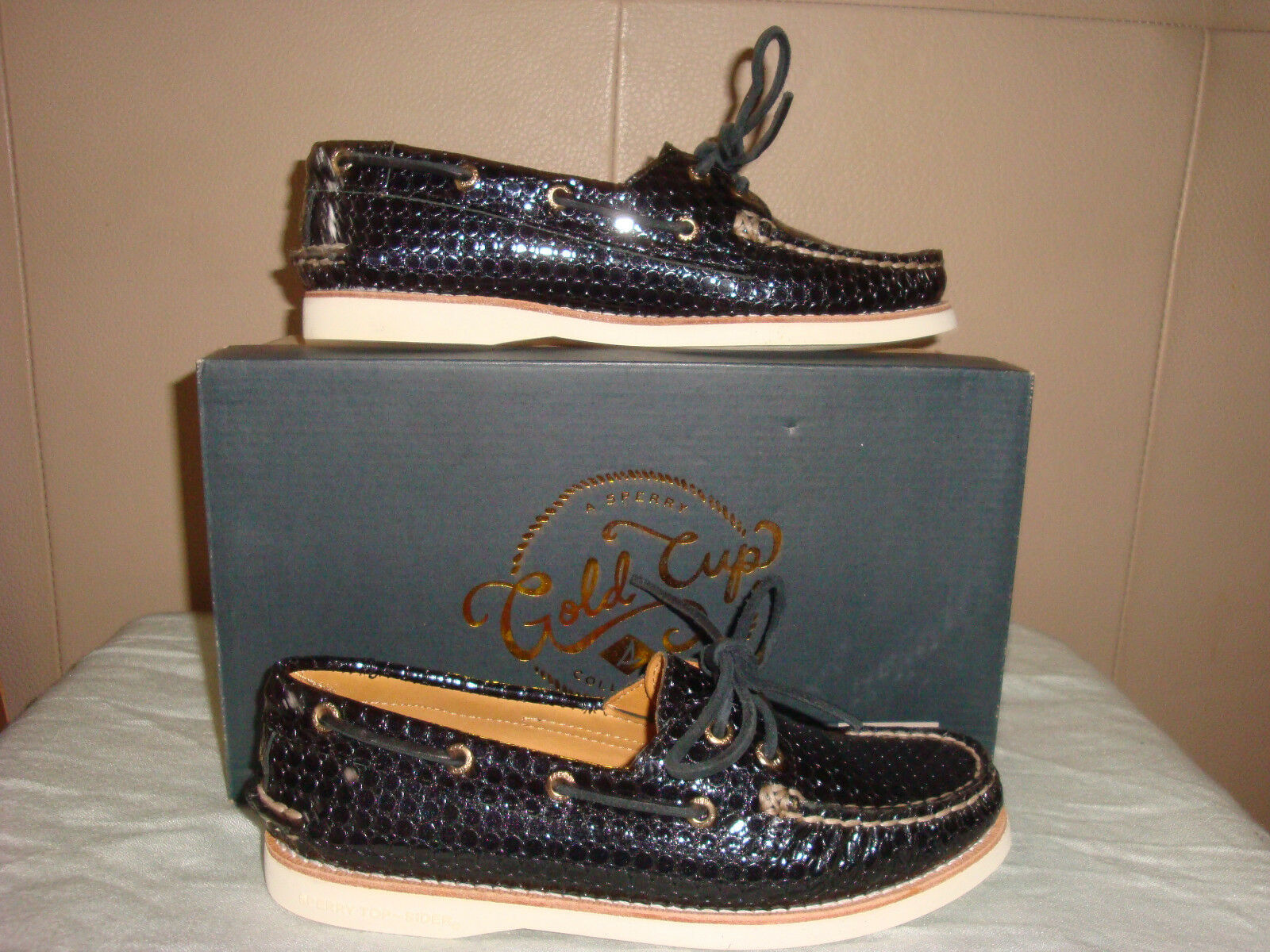 Women/s SPERRY TOP PATENT SIDER GOLD CUP A/O EMBOSSED PATENT TOP BLACK  Size 51/2 NIB!!! 1f17d3