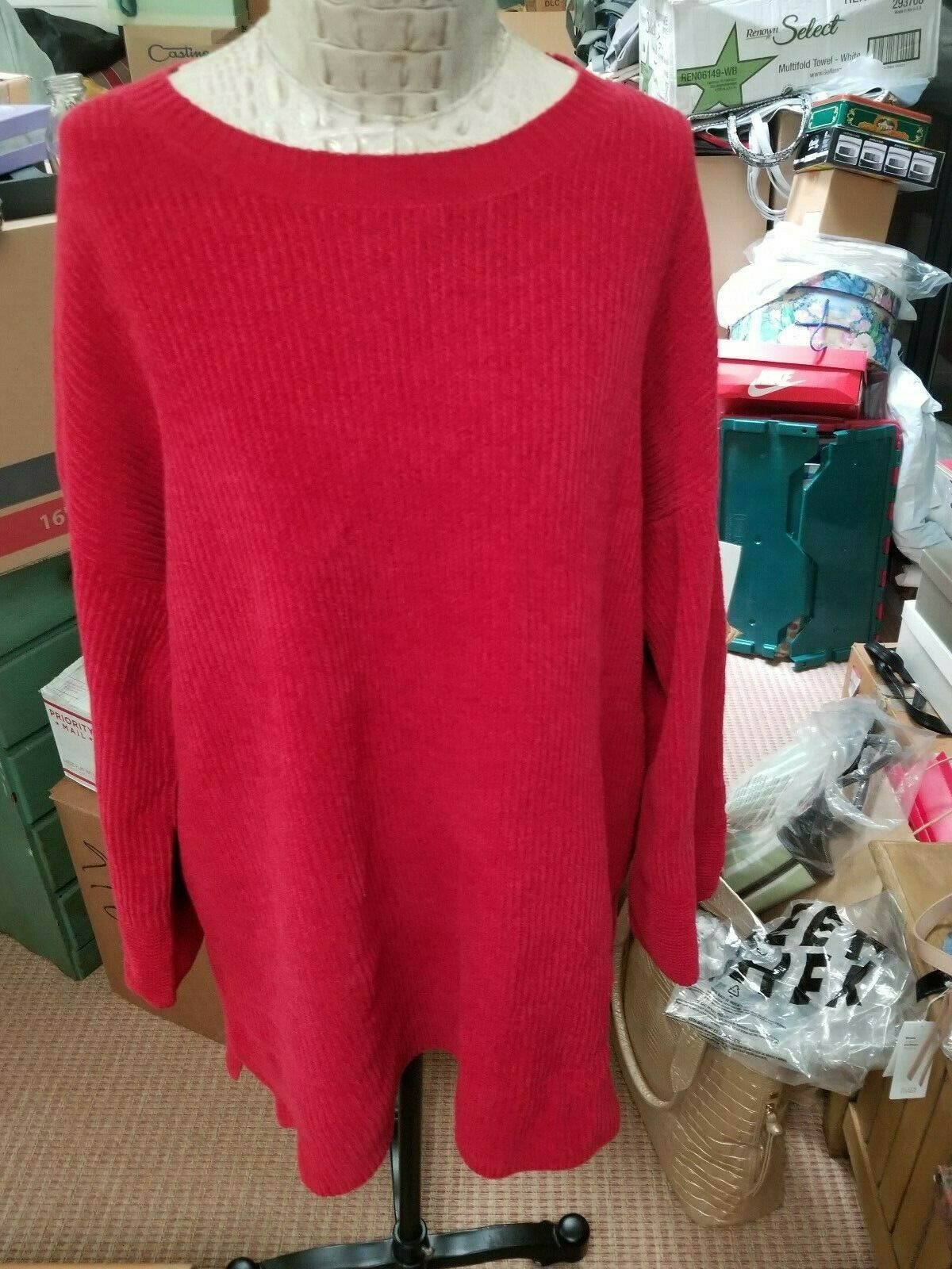 NWT Eileen Fisher Organic Cotton Chenille roundneck tunic, sz L lacquer (rot)