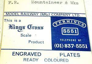 F-R-Alpiniste-Wks-Grave-Plaques-Modele-Railway-Kings-Cross-Echelle-Produit-A