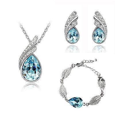 Sky Blue Elegant Jewellery Set Crystal Studs Earrings, Bracelet & Necklace S263