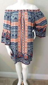 ee68e1fe0c4 Flying Tomato Boho Tribal Off the Shoulder Tunic Dress - Plus 2X ...