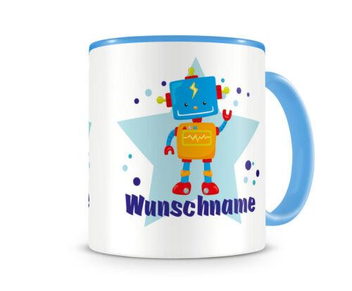 Kindertasse mit Namen und einem coolen Roboter Tasse Tee Kakao Kaffee Geschenk