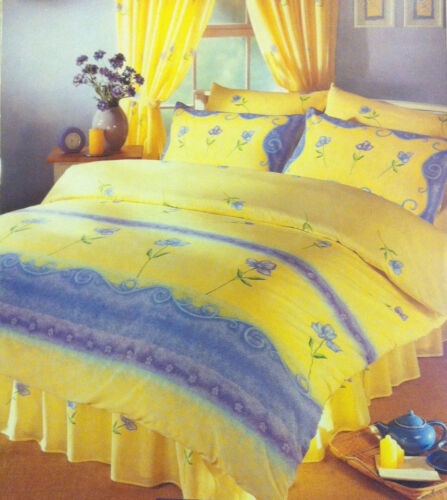 KING SIZE BED PALERMO DUVET COVER SET FLORAL SCROLL BORDER YELLOW BLUE GREEN