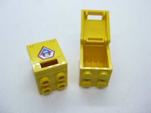 LEGO PART 4345//4346 YELLOW COAST GUARD CONTAINER BOX 2 X 2 X 2 WITH LID X2 PCS