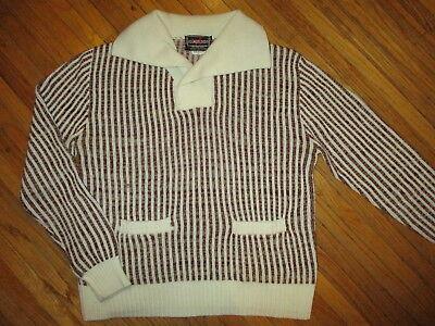 Attivo Vintage Anni 70 80 Youngbloods Maglione Camicia Marrone Righe Bianche Vita Tasca Texture Chiara