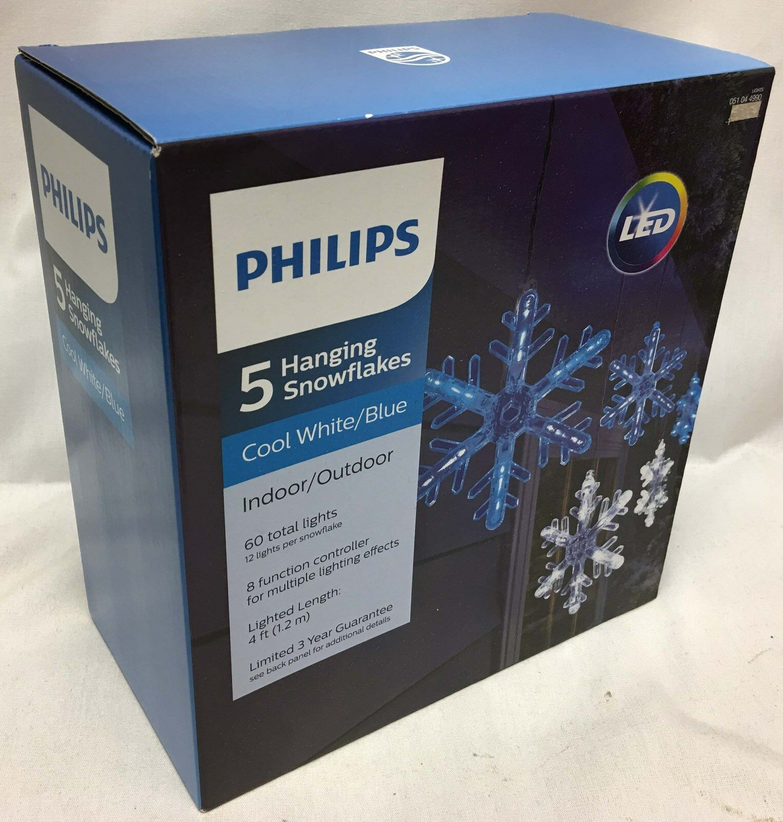 Set of 3 Philips 5 Cool White/blue Hanging Snowflakes Lights White ...