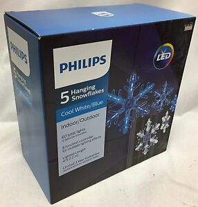 Philips 5 Cool White Blue Led Snowflakes Christmas Light