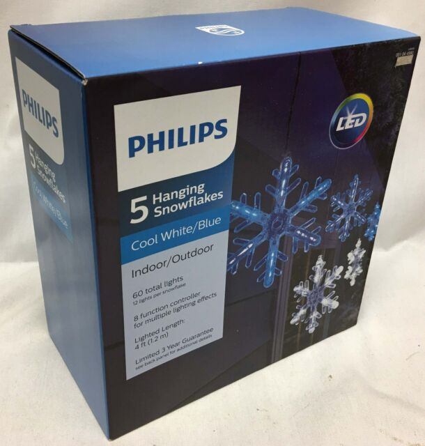 philips 5 cool whiteblue led snowflakes christmas light lightshow w 8 function
