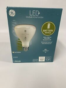 GE LED BR30 Bulb 65W Replacement uses 8W soft white with battery backup New