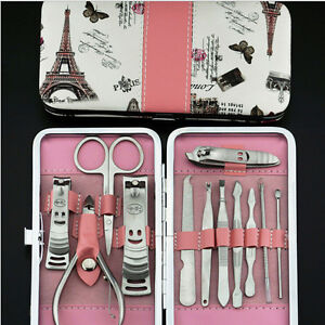 Nail-Care-12Pcs-Cutter-Cuticle-Clipper-Manicure-Pedicure-Kit-Case-Gift-Set-JE