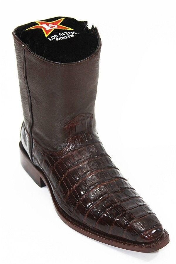 Los altos Marrón Auténtico Cocodrilo de la piel y botas al tobillo para Hombre reptil ELK Vestido