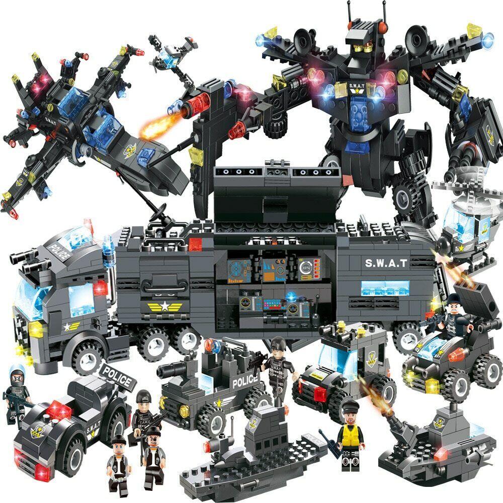8 IN 1 Truck Station Building Blocks 100/% NEW Lego City Police FBI Series SWAT