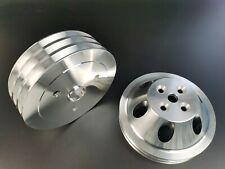 Sbc Swp Aluminum 2amp3 Groove Water Pump Crankshaft Pulley Kit Small Block Chevy
