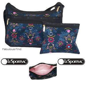 LeSportsac-Evening-Blues-Classic-Hobo-Crossbody-Bag-Cosmetic-Bag-Free-Ship