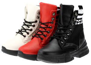 Damen-Stiefeletten-Schnurboots-Stiefel-Winter-Sneaker-Schuhe-Strick-Gefuttert