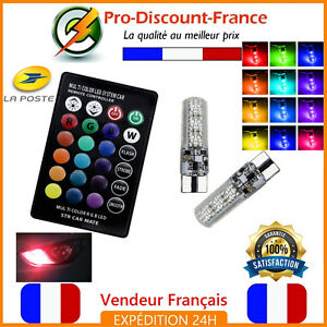 2-x-Ampoule-LED-RGB-T10-W5W-Telecommande-Veilleuse-Tuning-Ampoules-Voiture