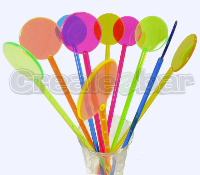 Mixed Neon Coloured Cocktail Stirrers - Disc / Disk top design - Swizzle Sticks